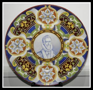 Creil Montereau Majolica Pottery Charger w Portrait by Gambier