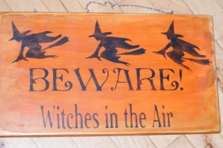 Halloween Wall Home Decor Witches in Air Wood Holiday Plaque
