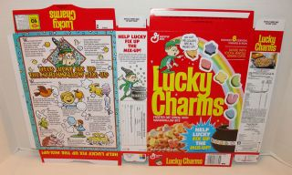 General Mills Lucky Charms 1989 Cereal Box Flat Unused Help Lucky Mix