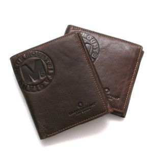 New Genuine Cow Leather Mens Bifold Wallet with Back Coin Pocket Purse