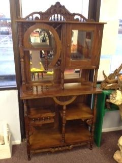 Antique Victorian Etagere Beveled Glass Intricate Scrollwork