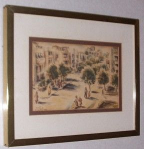 Signed 1952 David Gilboa Judaica Tel Aviv Israel Litho