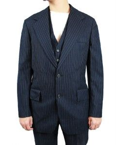 Suit Blazer Vest Pants 40L 35x32 Gangster Costume Blue