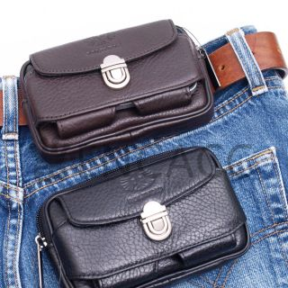 New Mens Genuine Leather Pocket Zipper Waist Packs Pouch Wallet Purse