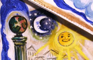 Painted Symbolic Masonic Apron by Artist ARI Roussimoff