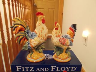 Fitz Floyd Rooster and Hen Figurines Large