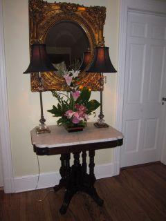 Victorian Eastlake Marble Top Table Burl Walnut High Detail
