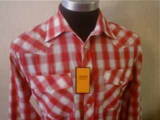 Red White Long Sleeve Plaid Pearl Snap Rockabilly Cowboy Western Shirt