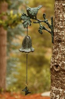Wall Mount Bird Brass Garden Bell Bracket Verdi Green