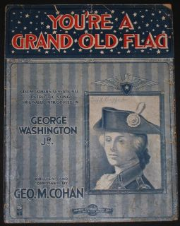 YOURE A GRAND OLD FLAG GEORGE M COHAN 1916 LARGE FORMAT BROADWAY SHEET