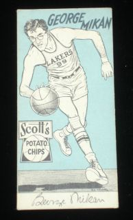 1950 51 Scotts Potato Chips George Mikan Minneapolis Lakers Weak EX