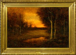 Original TONALIST Oil Painting Landscape Tonal style of George Inness