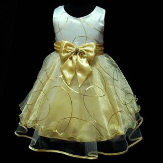 UKG1530 Easter Gold Party Holiday Flower Girls Dresses Size 2 3 4 5 6