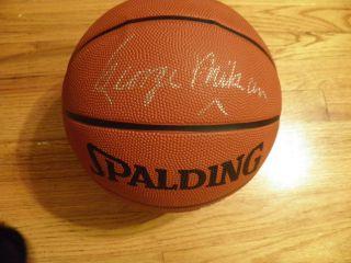 George Mikan Signed Basketball EX NBA Hall of Fame