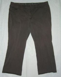 Womens Gloria Vanderbilt Stretch Waistband Brown Cotton Pants Size