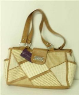Gloria Vanderbilt New Womens Brown Patchwork Fabric Purse Handbag Tote
