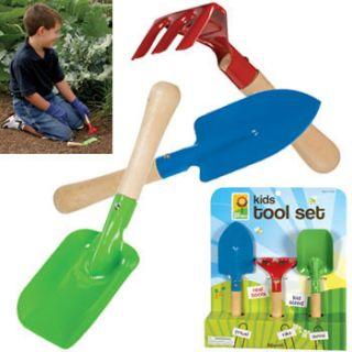 Kids Garden Hand Tools Set 3 Metal w Wood Handles
