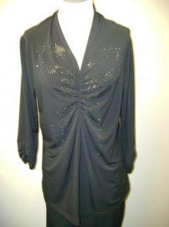 George Simonton Milky Knit Top w Rhinestone Emb Shir