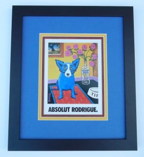 Absolut Rodrigue Framed George Rodrigue Blue Dog