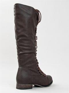 Women Military Lace Up Combat Knee High Boot Sz Brown GEORGIA25