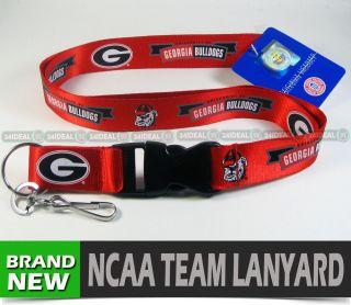 Georgia Bulldogs NCAA Licensed Lanyard Keychain ID Key Chain Holder