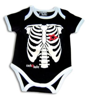 Glow in The Dark Skeleton Black Baby Suit Shirt 12M