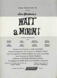Minim! Souvenir Program 1966 1967 Leon Gluckman Andrew & Paul Tracey
