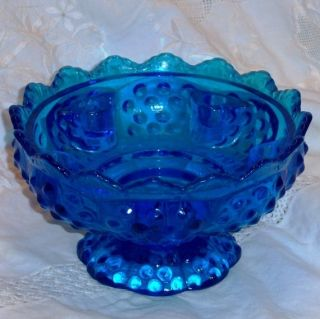 Fenton Art Glass Blue Hobnail Candle Holder