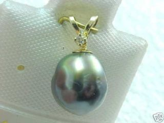14K YELLOW GOLD SOUTH SEA PEARL & DIAMOND PENDANT 8.9mm EXCELLENT
