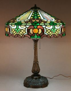 monumental wilkinson leaded stained glass antique lamp. Black Bedroom Furniture Sets. Home Design Ideas