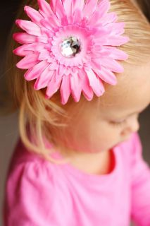 Gerbera Daisy Flower Clip Girls Hair Accessory Bow