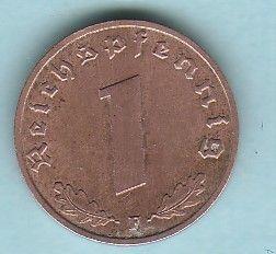 RARE German Nazi Coin Eagle Swastika 1940 F 1REICHSPFENNING