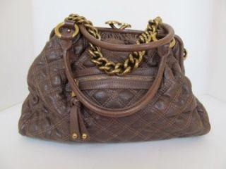 Marc Jacobs Brown Quilted Leather Handbag Shoulder Bag Purse