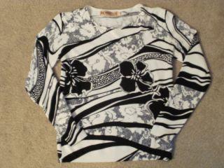 Sweet Tiger Fashion Black White Floral Stripes Cotton Polyester