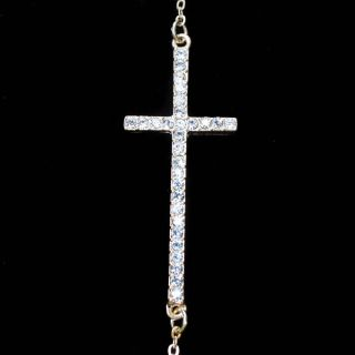 Gold Sideways Cross Pendant Chain Rhinestone Crystal Bling Necklace