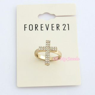 Forever 21 Crystal Cross Gold Tone Ring RG652