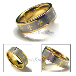 7mm Tungsten Carbide Gold Tone Cross Wedding Ring