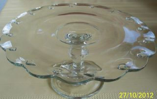Elegant Glass Pedestal Cake Plate Tear Drop Pattern