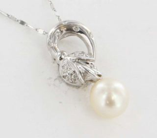 White Gold Pearl Diamond Pendant Necklace Fine Floral Jewelry