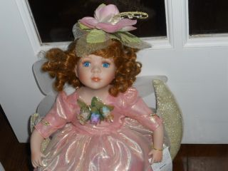 GEPPEDDO porcelain doll MARIAH brown hair blue eyes hanging fairy on
