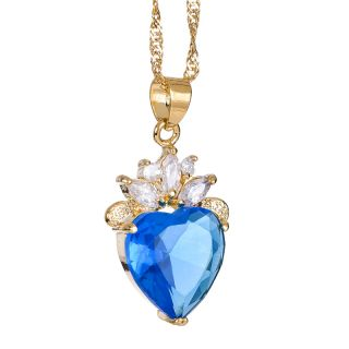 Fashion Lady Jewelry Heart Cut Aquamarine Gold Plated Pendant Free