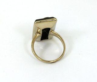 Antique Victorian 10K Gold Onyx Diamonds Ladies Trendy Ring