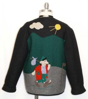 Giesswein Women Boiled Wool Austria Green Black Dress Cardigan Sweater
