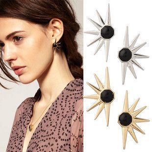 Punk Fashion Gold Sun Flower Stud Earrings Gold Plated