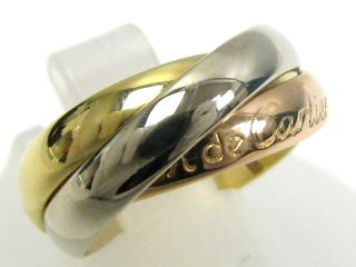 Auth Cartier 18K Tri Color Gold Trinity Ring Size 47