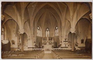 RPPC St Marys Church Gloucester City New Jersey Interior 1909