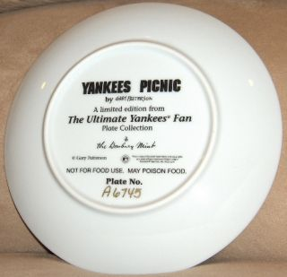 Mint NEW YORK YANKEES Plate Ultimate Fan YANKEES PICNIC Gary Patterson