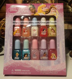 DISNEY PRINCESS 10pc Gift Set/Lot NAIL POLISH Shimmer +Glitter +Pearl