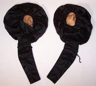 Vintage Victorian Mourning Black Silk Jet Beaded Gigot Leg of Mutton