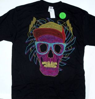 DJ Cool Skull Extra Large Neon Glow in The Dark T Shirt New
